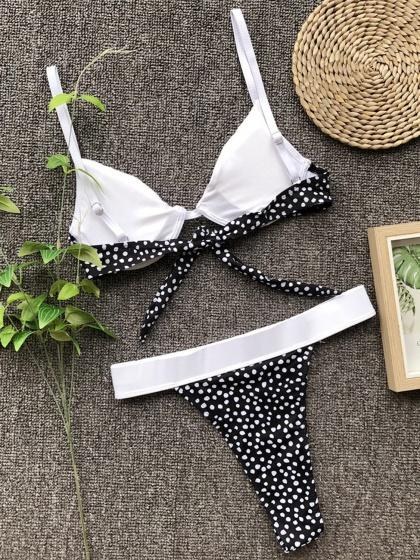 Black Bikini Set Contrast Polka Dot Print Tie Back