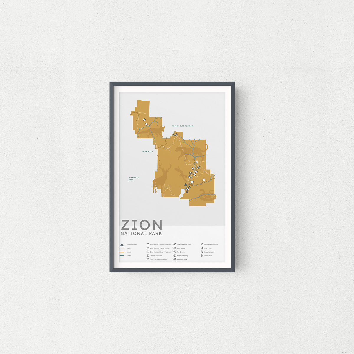 Zion National Park Map - Vintage