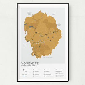 Yosemite National Park Map - Vintage