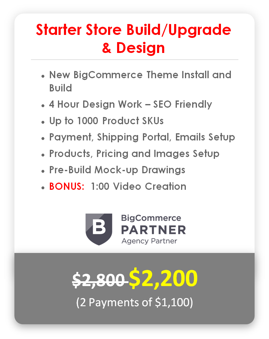 BigCommerce Starter Store Build/Upgrade & Design
