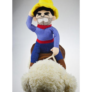Ride Cowboy Dog Pet Costume Doll Novelty Pet Costume