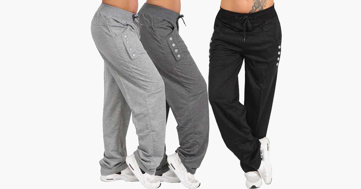 Casual High Waist Oversized Loose Leggings Sports Pants
