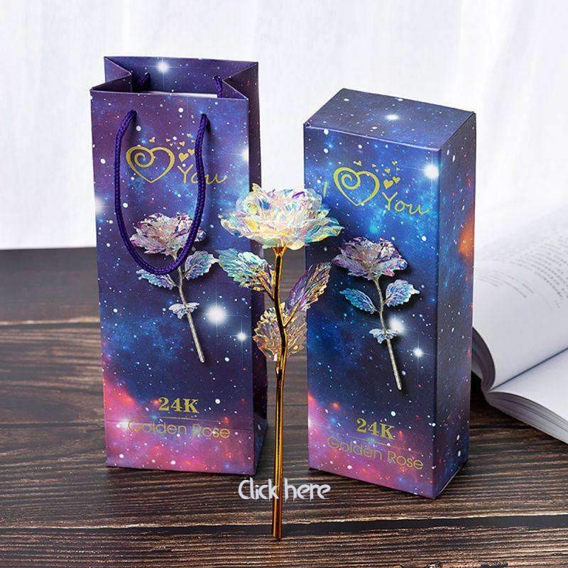 24K Gold Dipped Long Stem Eternal Rose in Gift Box-Diverso world