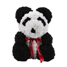 Load image into Gallery viewer, Handmade Artificial Rose Panda Bear and Bunny- Diverso world
