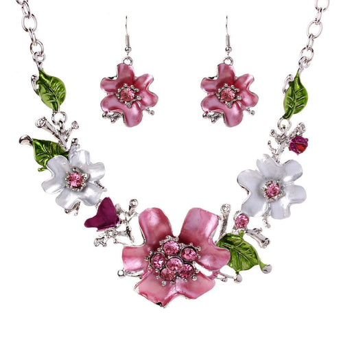 Necklace- Earrings Jewerly Set made of Crystal Rhinestone and Enamel - Diversoworld