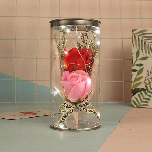 Scented Soap Rose Bouquet in Crystal Clear Container with LED Light- Diversoworld
