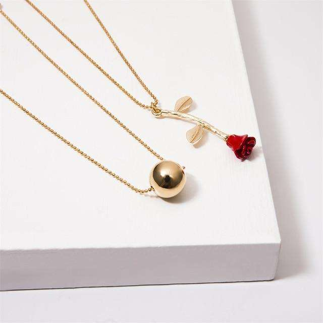 Multi Layer Necklace with Long Stem Red Rose and Golden Sphere - Diverso world
