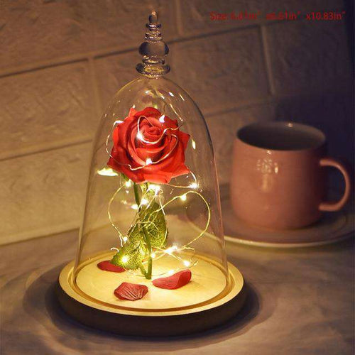 Beauty and The Beast Eternal Rose Red  In Glass Dome with LED Light - Diversoworld