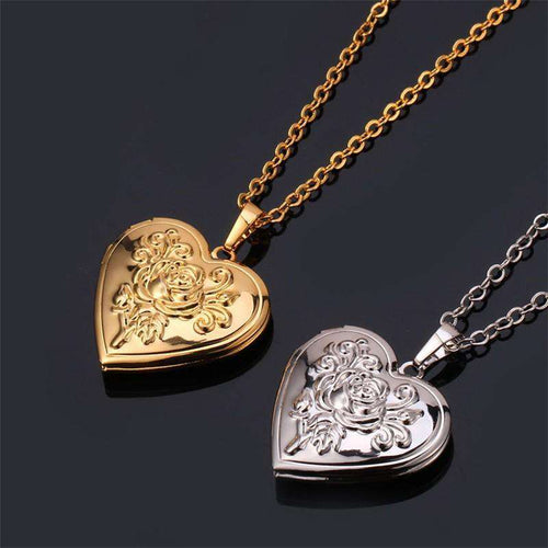 Heart Locket Pendant with Necklace in Three Different Colored Metals- Diverso world