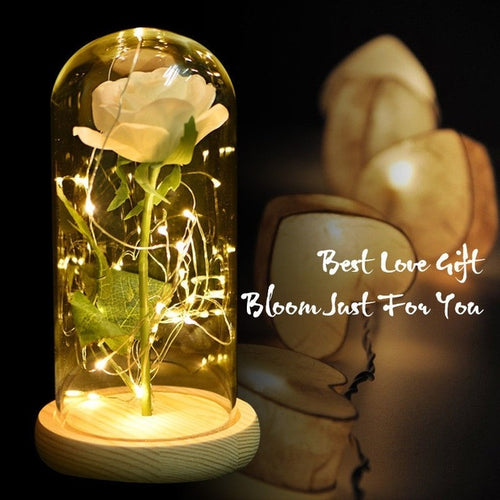 Artificial Rose in Glass Dome with LED Wooden Base- Diverso World