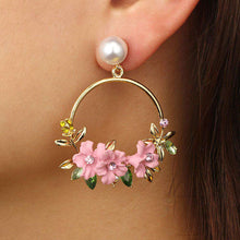 Load image into Gallery viewer, Faux Pearl Gold Tone Large Hoop Earrings with Flowers and Rhinestone Embellishment- Diverso world