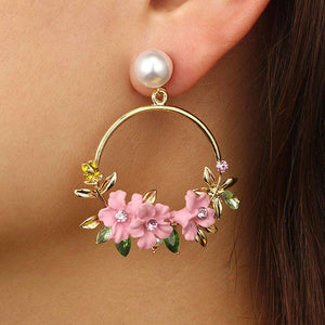 Faux Pearl Gold Tone Large Hoop Earrings with Flowers and Rhinestone Embellishment- Diverso world