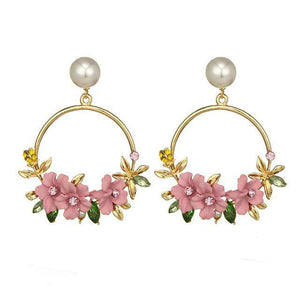 Faux Pearl Gold Tone Large Hoop Earrings with Flowers and Rhinestone Embellishment - Diverso world