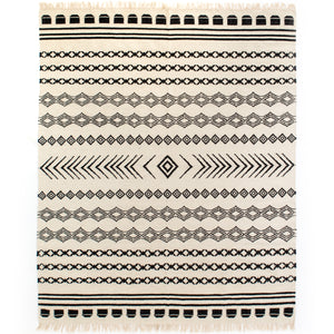 Black Patterned Stripe Rug 8' X 10'