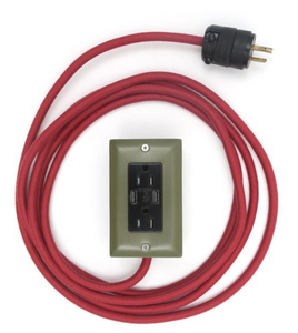 The Exto USB Plug Outlet (12FT) Army Green