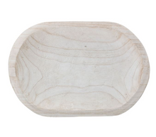 Load image into Gallery viewer, Decorative Hand-Carved Paulownia Wood Bowl, Whitewashed