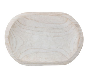 Decorative Hand-Carved Paulownia Wood Bowl, Whitewashed