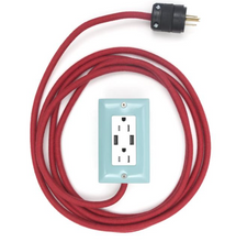 Load image into Gallery viewer, The Exto USB Plug Outlet (12FT) Mint Blue with Red Cord
