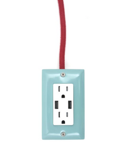 The Exto USB Plug Outlet (12FT) Mint Blue with Red Cord