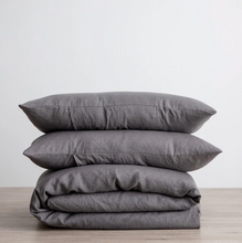 Load image into Gallery viewer, Linen Duvet Cover Set - Charcoal Gray