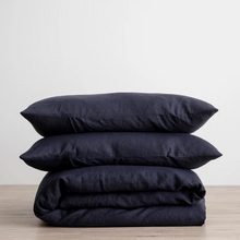 Load image into Gallery viewer, Linen Duvet Cover Set - Navy