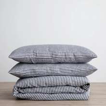 Load image into Gallery viewer, Linen Duvet Cover Set - Indigo Stripe