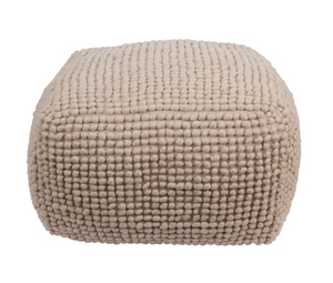 Wool & Cotton Pouf, Natural