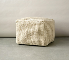 Load image into Gallery viewer, Wool & Cotton Pouf, Natural