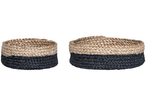 Jute Baskets, Black & Natural