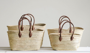 Hand-Woven Moroccan Basket with Leather Handles *Best Sellers!