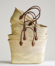 Load image into Gallery viewer, Hand-Woven Moroccan Basket with Leather Handles *Best Sellers!