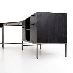 Trey Desk System With Filing Credenza