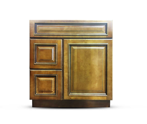 30 Inch Bathroom Cabinet Vanity Heritage Caramel Right Drawers