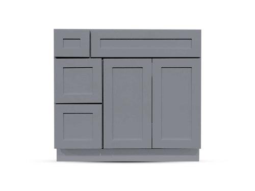 36 Charcoal Shaker Drawers Left