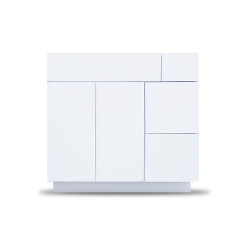 36 Inch Bathroom Cabinet Vanity Blanco Polished Right  Drawers