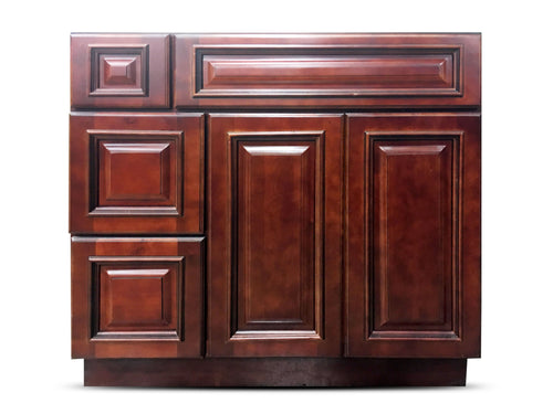 36 Inch Bathroom Cabinet Vanity Cherry Right Drawers
