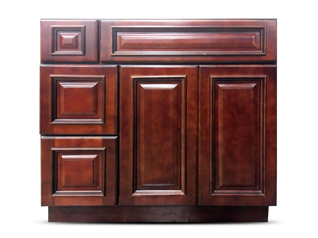36 Inch Bathroom Cabinet Vanity Cherry Left Drawers