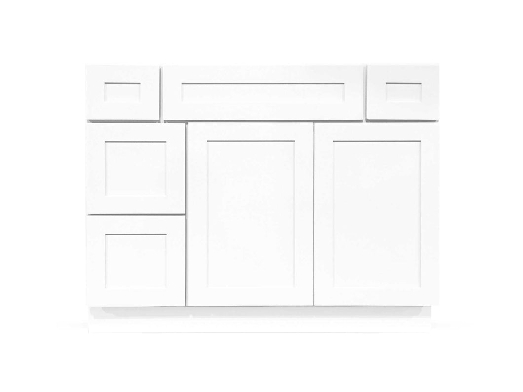 42 Bright White Shaker Drawers Left