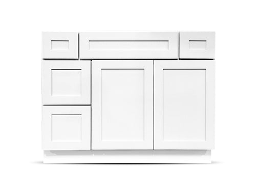 42 Colonial Shaker White Drawers Left