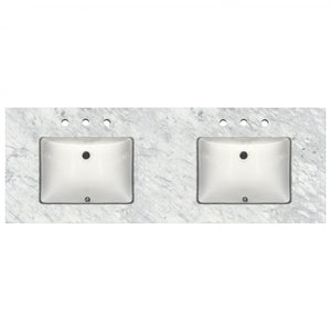 "61"" Wide Double Sink x 22"" Deep Prefab Vanity Top Bianca Carrera 2cm 4670"