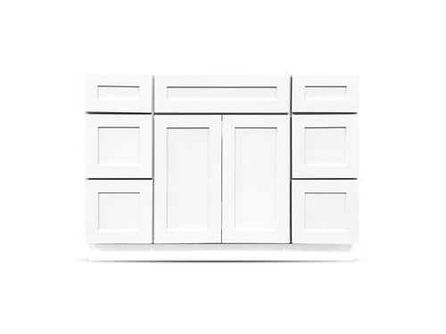 48 Colonial Shaker White Drawers Left/Right