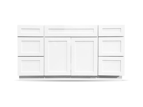 60 Colonial Shaker White Drawers Left/Right