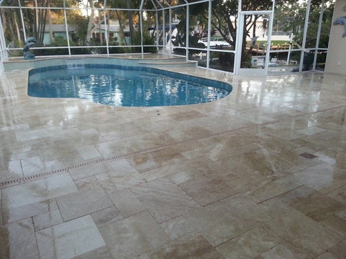 French Pattern Travertine Ivory Cream