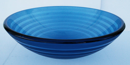 Round Striped Tempered Glass Vessel Sink (Blue)