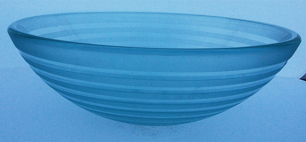 Round Striped Tempered Glass Vessel Sink (Clear)