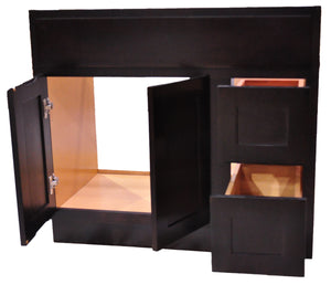 42 Inch Bathroom Cabinet Vanity Shaker Espresso Right Drawers
