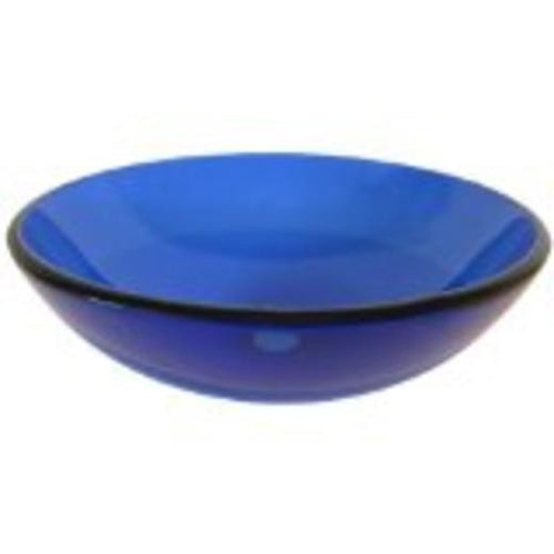 Round Tempered Glass Vessel Sink - Frosted (Blue)