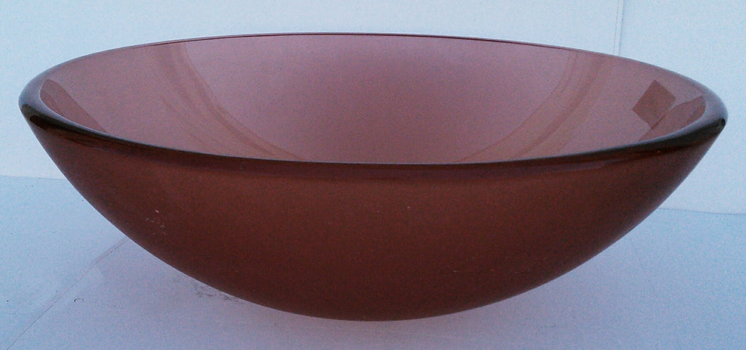 Round, Frosted Tempered Glass Vessel Sink (Brown)