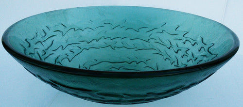 Round Tempered Artistic Waves Glass Vessel Sink (Green)