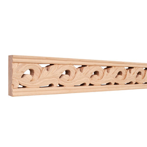 "3-1/8""x1""x96"" Hand Carved Moulding - Basswood"